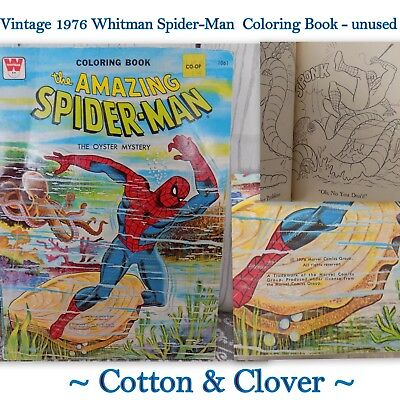 Vintage 1976-Spiderman-Coloring-Book-034-The-Oyster-Mystery - Unused, Shelf wear