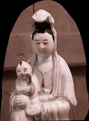 Antique Chinese Republic Porcelain Guanyin Kwan Yin With Child Figurine Statue