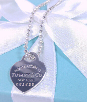 Tiffany & Co RTT Heart Charm Bead Chain Pendant 34 Necklace Sterling Silver 925