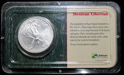 1995 Mexico Libertad 1 Onza Troy Oz .999 Fine Silver Round Sealed Littleton Pack