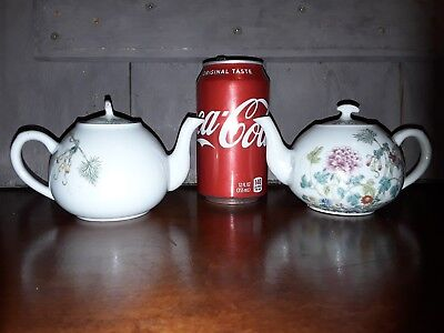 Antique Chinese Qing Dynasty Guangxu Pair Famille Rose Porcelan Teapots