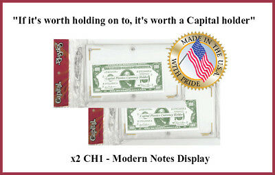 Capital Plastic Holder Currency Protector For Modern Banknotes Clear Display NEW