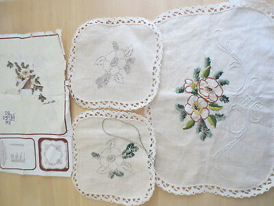 Embroidery Duchess Set  Semco 082 100% Linen Lace Edge Started Needs Finish