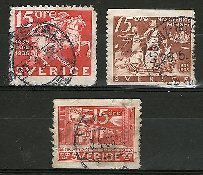 DMB - Sweden: 3 Old Stamps - Used