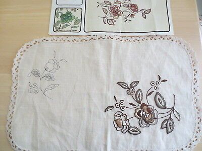 Embroidery Semco 802 Table Centre Lace Edge 100% Linen Started Needs Finish