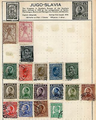 Jugoslavia Stamp Collection on Old Album Page -  MH & Used