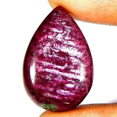 Natural Quality Red Ruby Zoisite 47.05 Carat Pear Cabochon Loose Gemstone