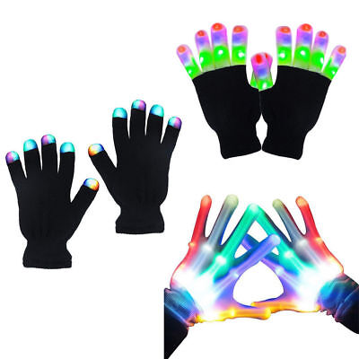 Zoetouch Fashion 3 Colors LED Skull Gloves Light Up Flashing Finger Party Bars