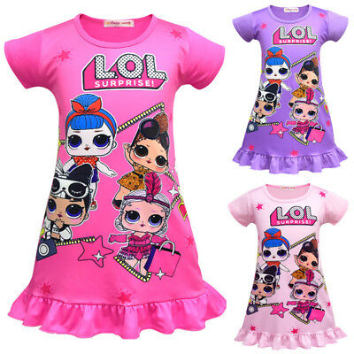 UK Kids Girls LoL Surprise Dolls Game Dresses Nightwear Nightdress Pyjamas Skirt