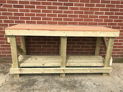 1.8M / 6ft LONG SOLID OAK TOP WOODEN WORK BENCH - HEAVY DUTY & STRONG SOLID WOOD
