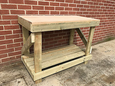 NEW 1.2M 4ft SOLID OAK TOP WOODEN WORKBENCH  - HEAVY DUTY - FREE DELIVERY!