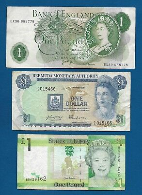 Great Britain £1 Pound P-374g, Bermuda $1 Dollar 1979, Jersey £1 ND-2010 P-32