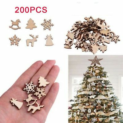 200Pcs DIY Carve Natural Wood Chip Ornaments Christmas Decoration Craft Decor