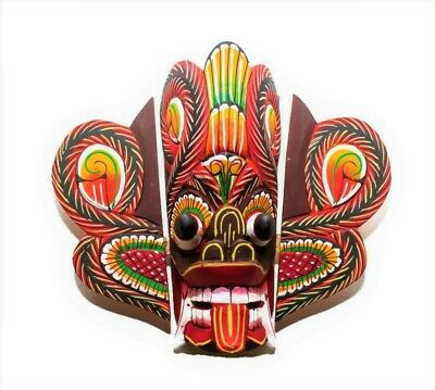 Asian Hand Carved Wood Wall Home Decor Vivid Ethnic Cobra Mask Art Sculpture 8""