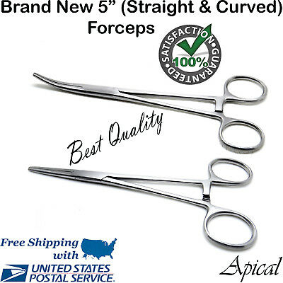 "2pc Fishing Set 5"" Straight + Curved Hemostat Forceps Locking Clamps"