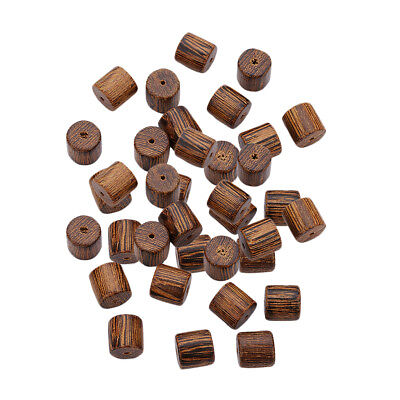 40x Pine Wood Tube Bead DIY Jewelry Making Sewing Crafts Decor 10x10mm
