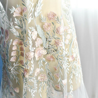 """1 Yard Flower Leaves Embroidered Mesh Wedding Dress Lace Fabric 51"""" Width"""