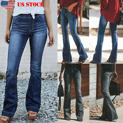 WOMENS HIGH WAISTED STRETCHY SKINNY FLARED JEANS LADIES JEGGINGS PANTs S to XXL