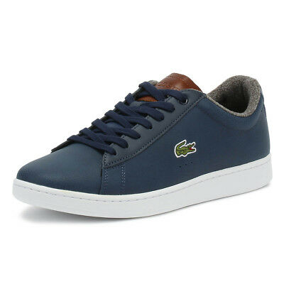 Lacoste Mens Trainers Carnaby EVO 318 2 Navy & Brown Sport Casual Shoes