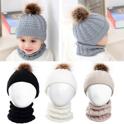 Winter Baby Kids Girl Boy Toddler Warm Knitted Crochet Beanie Hat Cap And Scarf
