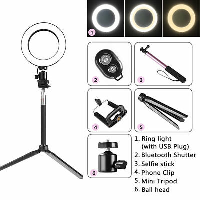 "6"" LED Studio Ring Light Photo Video Dimmable Lamp Light Kit For Camera & Phone"
