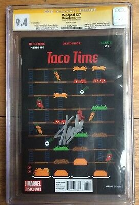 Deadpool  #27 1:75 Waite Taco Time Variant CGC SS 9.4 Signed by Stan Lee
