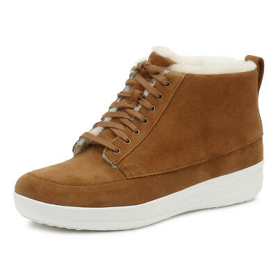 FitFlop Womens Tan Stefanie Shearling Ankle Boots Lace Up Winter Shoes