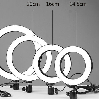 "6"" SMD LED Ring Light Dimmable 5500K Continuous Lighting makeup Photo Video Kit"