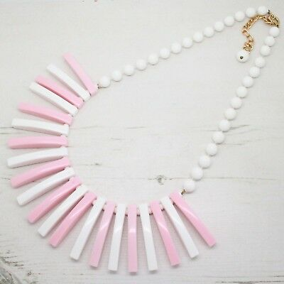 Vintage Pink and White Lucite / Plastic Fringe Drop Collar Necklace Jewellery