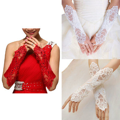 Women Bridal Long Gloves Opera Fingerless Embroidery Lace Elbow Length Mittens