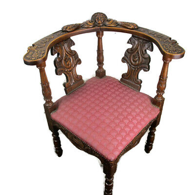 Antique Corner Armchair Fauteuil  Hallway Hand Carved Wood Hobnails Carved Head