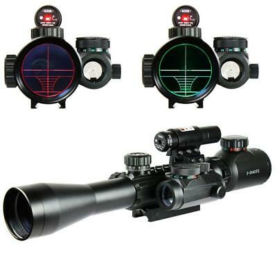 3-9x40 EG Red Green Rangefinder Tactical Riflescope w/ Red Laser Sight