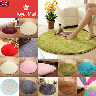 Multiple Colors Fluffy Rugs Anti-Skid Shaggy Rug Carpet Bedroom Floor Round Mat