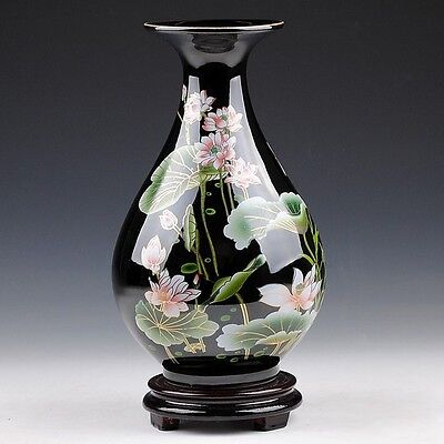 Exquisite Chinese Hand-Painted Black Lotus Flowers Drop Shape Vase