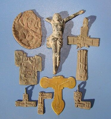 Fragments Of Ancient Crosses, Amulet. Christianity. Original.