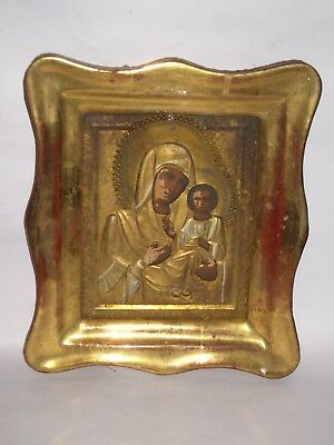 Antique 19c Russian Orthodox Hand Painted on wood Icon Mother of God Smolenskaya