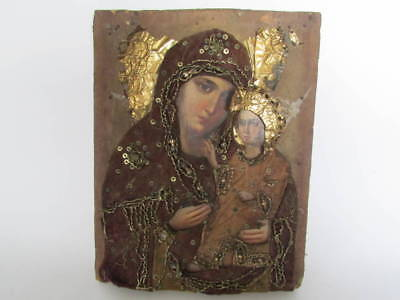Antique 19c Russian Orthodox Hand Painted on wood Icon Mother of God in oklad