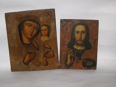 Pair of antique 19c Russian Orthodox Icons Christ Pantocrator and Mother of God.