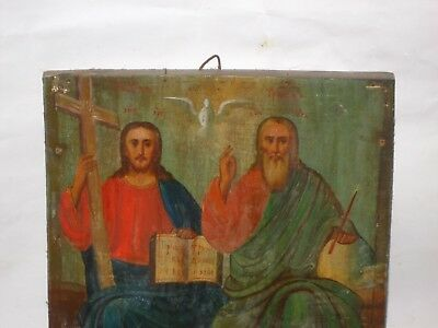 """Antique 19c Russian Orthodox Hand Painted Wood Icon """"The Holy Trinity""""."""