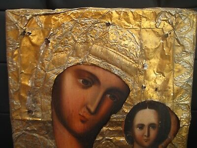 Antique 19c Russian Orthodox Hand painted icon Mother of God in oklad.