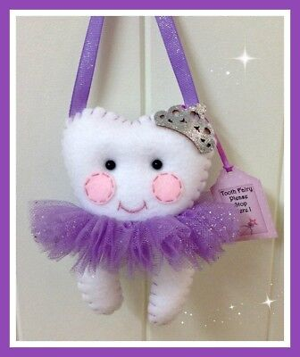 Tooth Fairy-  Glitz Princess Purple- Pocket on the back for lost Tooth-Handmade