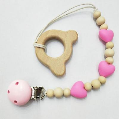 1Set pacifier chain wooden molar stick Food grade silicone beads Pacifier clip