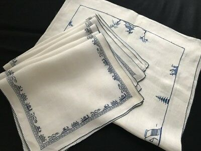 Six Vintage Miniature Chinese Embroidery in Blue Fine Linen Placemats & Runner
