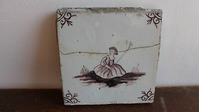 Antique Dutch Delft or Lille Tile. Ancien carreau carrelage Delft Lille....I.