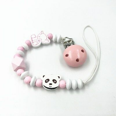 Pink pacifier Clip Cases Elephant bear beads Baby molar Wooden pacifier chain