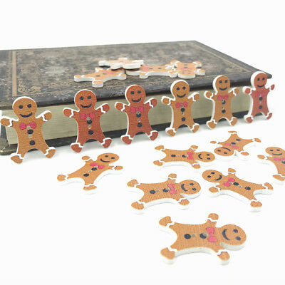 DIY 50PCS Christmas gingerbread Man Wooden buttons decoration festival 30mm