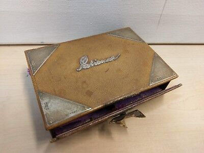 * Antique 1907 De La Rue Ltd Leather & Sterling Silver Patience Playing Card Box