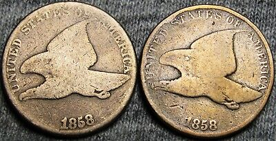 1858 Flying Eagle Cent Type Penny---- Lot of 2 ---- #P497