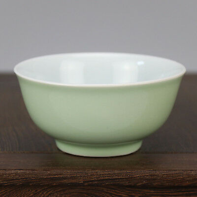Chinese antique old hand-carved porcelain bean green glaze  A small bowl b02