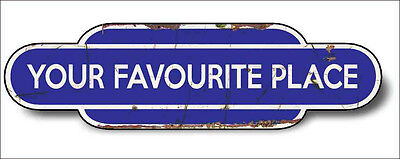 Train Station Aged Retro Vintage Old Train Aluminium 30x16cm BLUE Any Name!